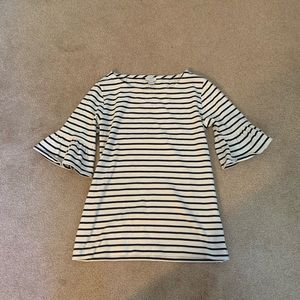 Striped shirt with statement sleeve